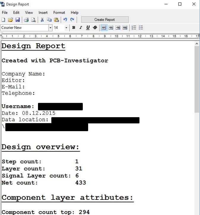 Design Report - All information at a glance | PCB-Investigator