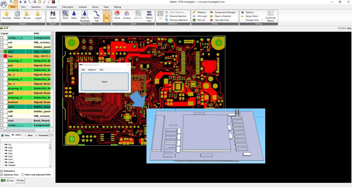 Google SketchUp Export - 3D PCB Model | PCB-Investigator