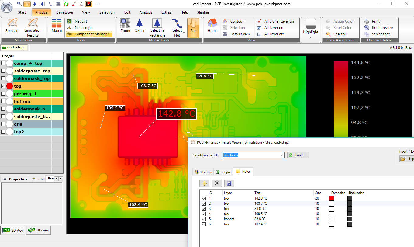 Physics (Thermal Analysis / Current Simulation) | PCB-Investigator